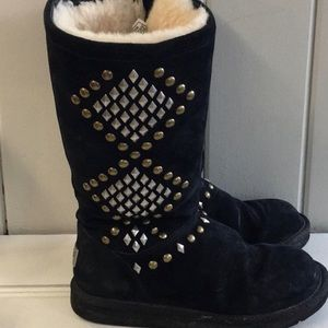 🔥UGG boots with silver and gold embellished studs